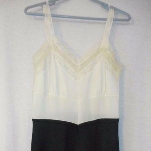 Vintage Nylon White Black Lacey Full Length Slip